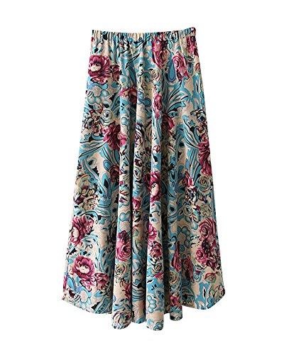 Littrature t Longue Grande Et Lin Floral Boho Style Voyager Jupe Femme Line Art Longue Jupe Couleur Swing Maxi Taille 4 Plage lastique A Taille Imprim xnIqPXxdO
