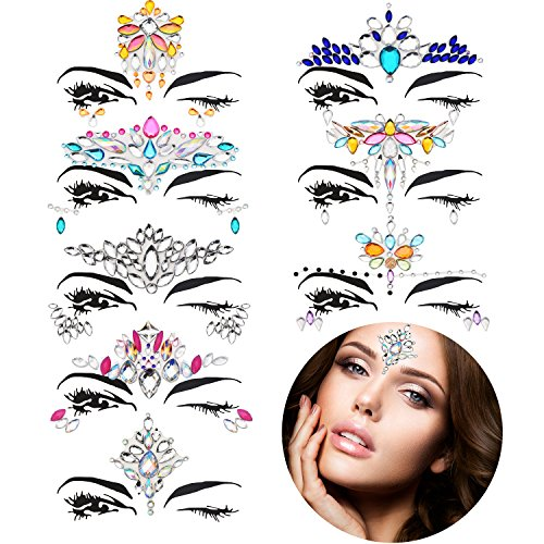 TOODOO 8 Sets Mermaid Face Gems Glitter Sticker Rhinestone Bindis Crystal Face Jewels Tattoo Forehead Decorations for Women Favors (Pattern Set 2) by TOODOO