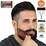BEARDCLASS-Beard-Comb-and-Brush-2-in-1-Dual-Sided-Coarse-and-Fine-Teeth-for-Long-and-Short-Beards-Bonus-Items-Beard-Brush-Mustache-Comb-and-Scissors-Set-100-Natural-Sandalwood-Mens-Beard