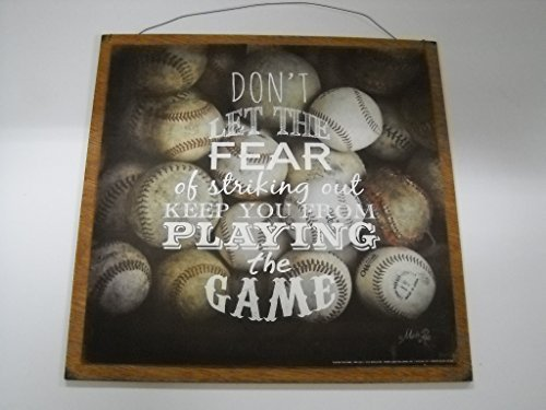 dont let the fear of striking out keep you from playing the game baseball boys sports bedroom wooden wall art childrens room decor sign size 7x7