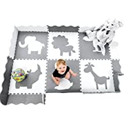 Large (5x7') Baby Play Mat with Interlocking Foam Floor Tiles. Neutral Baby Playmat for Nursery, Playroom Or Living Room (Grey and White)