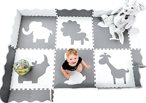 Large (5x7') Baby Play Mat with Interlocking Foam Floor Tiles. Neutral Baby Playmat for Nursery, Playroom Or Living Room (Grey and (Interlocking Foam Playmats)