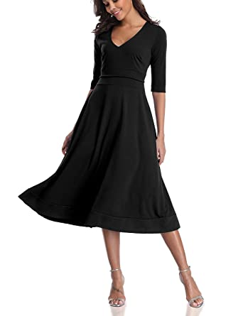 8d0b2c728698 CHUNNA Womens Half Sleeve V-Neck High Waist Midi Dress with Pockets ...