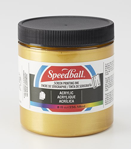 Speedball 004628 Acrylic Screen Printing Ink, 8 fl. oz, Gold by Speedball
