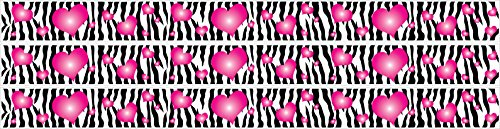 - Zebra Print and Hot Pink 3d Hearts Wall Border Decals