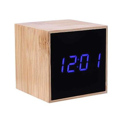 Amazon.com: Digital Alarm Clocks for Bedside,Miya Wooden LED ...