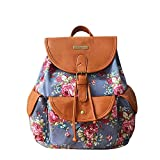YOUR GALLERY Women's Faux Leather and Canvas Tribal Stripe Print Canvas Backpack (Floral)