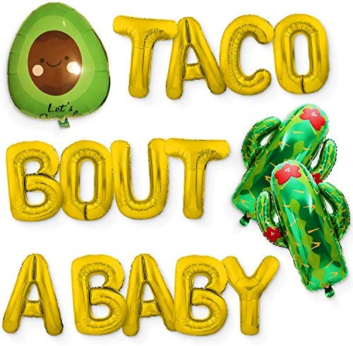 Taco Bout A Baby Gold Foil Balloon Banner Sign for Mexican Fiesta Decorations and Party Supplies - Gender Reveal Baby Shower Gold Letter Balloons