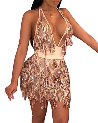 (BYSBZD Womens Retro Sequin Beaded Tasseled Hem Slim Fit Mini Dress Champagne XL)