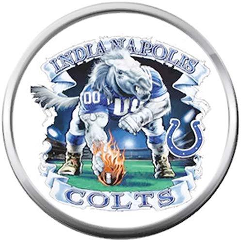 - NFL Logo Indianapolis Colts Horseshoe Blue Colt Football 18MM - 20MM Snap Charm
