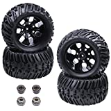 4pcs HobbyPark RC Tires and Wheel Rims Set Foam Inserts 12mm Hex Hub for 1/10 Scale Off Road Monster Truck