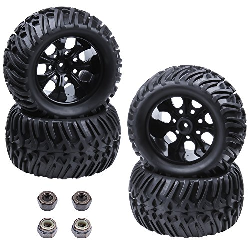 res and Wheel Rims Sets Foam Inserts 12mm Hex Hub For 1/10 Scale Off Road Monster Truck (Rc Wheels Tires)