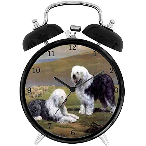 22yiihannz Desk Clock 4in Old English Sheepdog Wall Clock - Unique Decorative .Battery Operated Quartz Ring Alarm Clock for Home,Office,Bedroom.