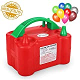 Flynie Electric Balloon Pump Air Balloon Pump Lower Noise Portable Electric Balloon Inflator Blower Dual Nozzle for Party Decoration 110V 600W Red with a Tie Tool
