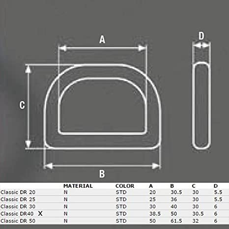 ITW-Nexus 10 Stck Stabiler D-Ring Classic DR aus Nylon Kunststoff f/ür 20mm Gurtband