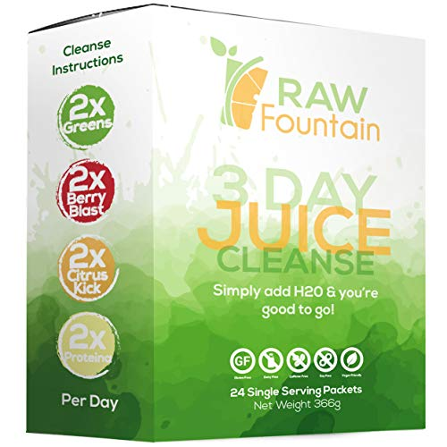 3 Day Juice Cleanse Detox, 24 Powder Packets, Travel Vegan Friendly, Weight Loss Program, All Natural 3 Day