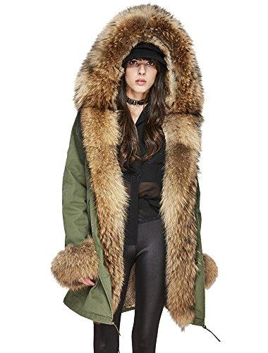 Melody Women's Winter Real Raccoon Fur Collar Hooded Coat Rabbit Fur Lined Parka Long Jacket (Small, Army Green - ()