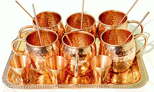 STREET CRAFT Set of-6,100% Copper Hammered Moscow Mule Mug /Cup, Capacity-18 Ounce, & Smooth Copper Shot Glasses Capacity-2 Ounce,Copper Drinking Straws with Copper Tray, Complete Set for Gift by STREET CRAFT