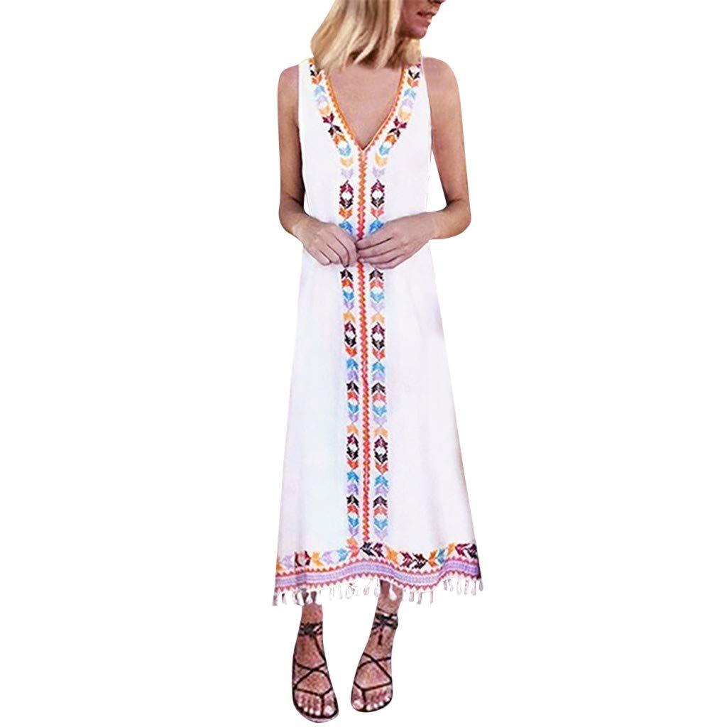 Boho Lang Kleid Dasongff Sommerkleid Damen Tief V-Ausschnitt Armellos Elegante Strandkleider Schöne Drucken Freizeit Kleid mit Fransen