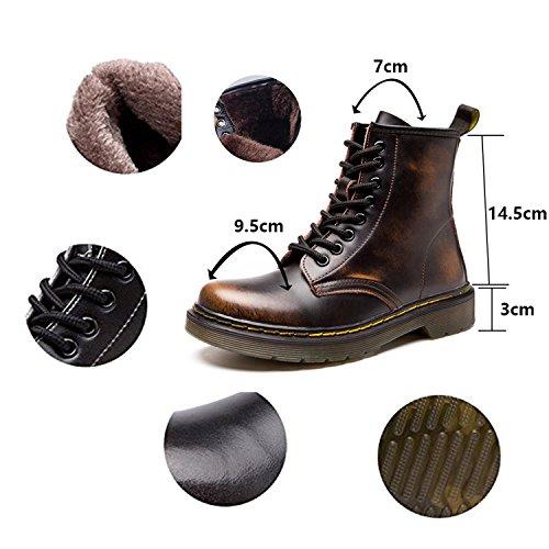 boots Bottes Doublure Botte bottines Cuir Impermeables Plates Hiver homme classiques Lacets Chaussures Ukstore Fourrure Chaudes Martin Femme marron Fourrées qafvwadX