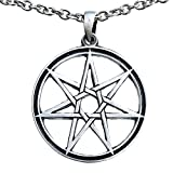 Septagram 7 Pointed Fairy Star Heptagram Pewter Pendant Charm Amulet (Stainless Steel Chain)