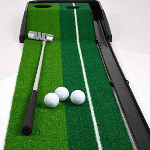 Balight Putting Green Indoor Outdoor Golf Auto Return with 3 Ball and 1 Putter Putting Trainer Mat Dual-Track ProEdge - Extra Long 10.5 Feet Mat - 2 Holes by Balight (Image #4)
