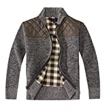 Gioberti Boy's Knitted Full Zip Cardigan Sweater with Soft Brushed Flannel Lining, Melange Coffee, Size 7