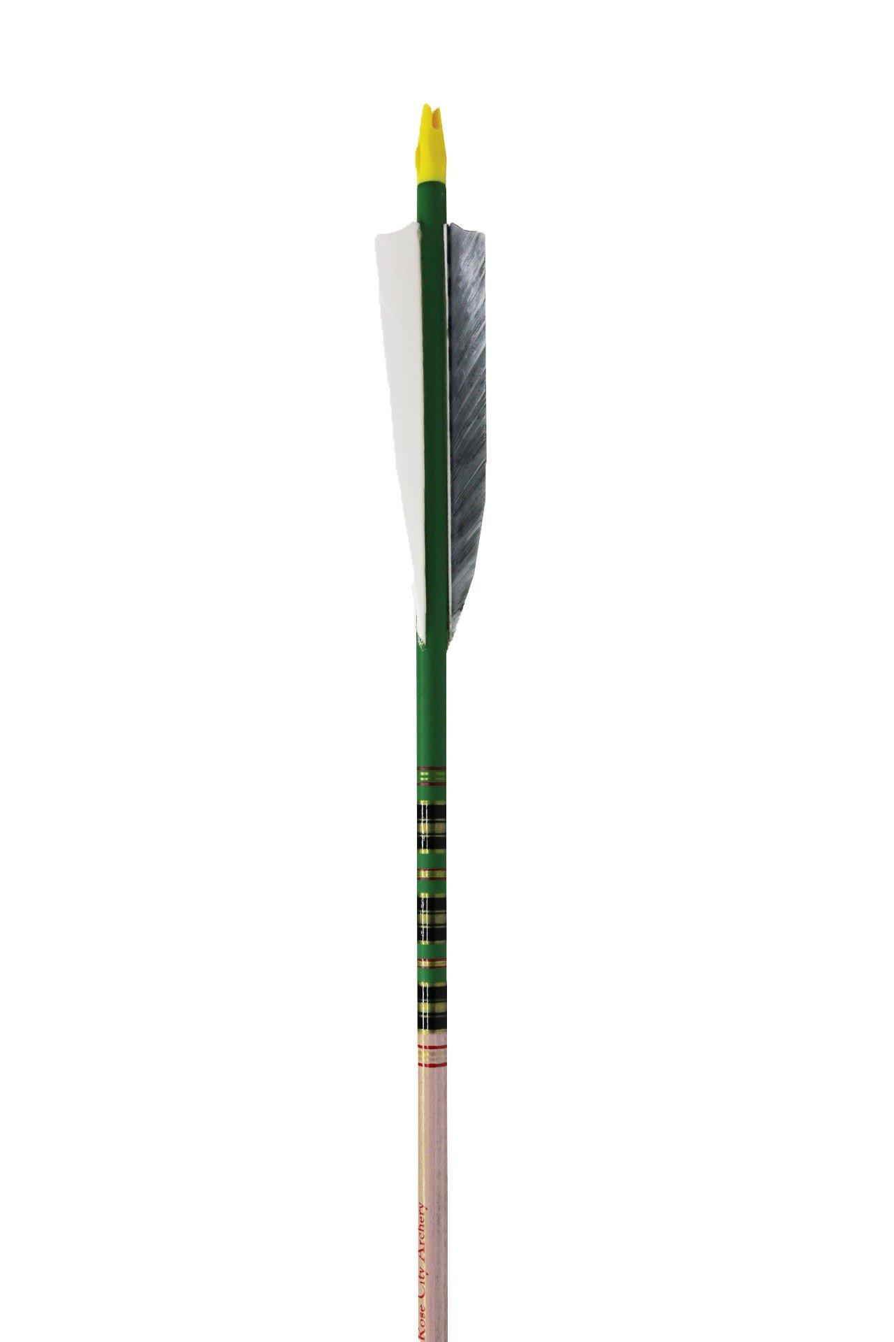 Rose City Archery Port Orford Cedar Fancy Arrows with 4'' Shield Fletch (12 Pack), Green/Clear