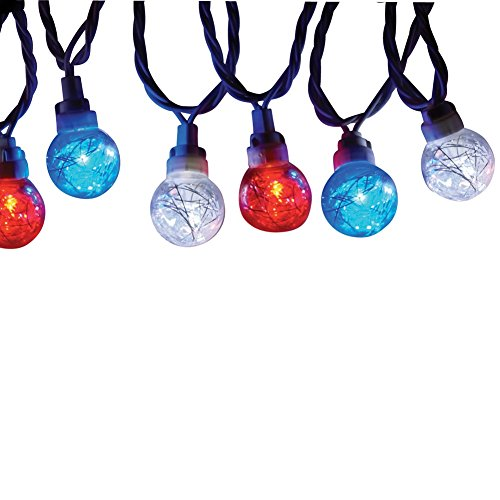 Patriotic Tinsel Globe String Lights Bless Lee