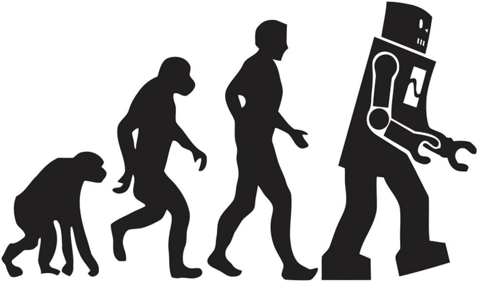"BIG BANG THEORY FUNNY HUMOROUS EVOLUTION OF ROBOT MARCH SIGN VINYL STICKERS SYMBOL 5.5"" DECORATIVE DIE CUT DECAL FOR CARS TABLETS LAPTOPS SKATEBOARD - BLACK"