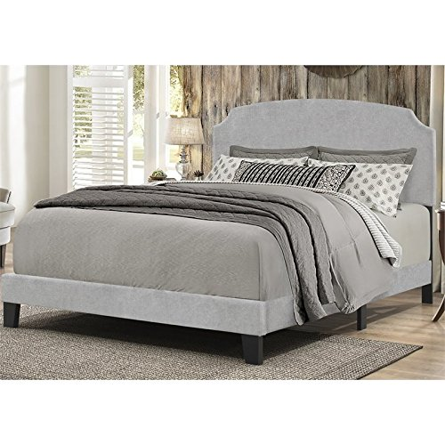 Platform Bed in One with Wooden Legs in Glacier Gray Fabric (Queen: 88.13 in. L x 64.25 in. W x 45.25 in. H)
