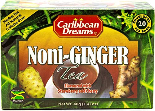 Caribbean Dreams Noni Ginger Tea, 20 Tea Bags, Flavored with Strawberry & Cherry, Herbal, All Natural, Caffeine Free Tea from ()