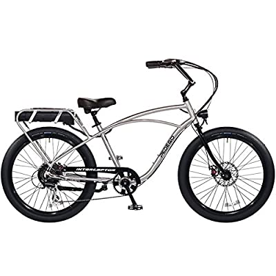 """Pedego Interceptor 26"""" Classic Brushed Aluminum with Black Balloon Package 48V 15Ah"""