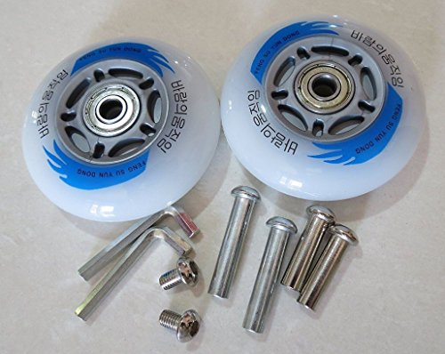 E&L Razor Scooters Replacement Wheels, Set of 2X Caster Board Replacement Wheels with Illuminating Lights, Packaged with Our own Designed Bag @ Eric & Leon Logo (80 X 24 (mm))