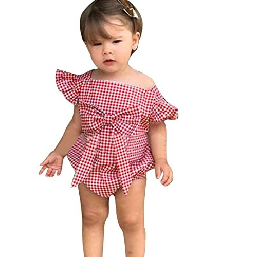 vermers Infant Clothes Baby Girls Sleeveless Romper - Plaid Bowknot Ruffle Jumpsuit Outfits Set(6M, Red) (Collar Cardigan Portrait)