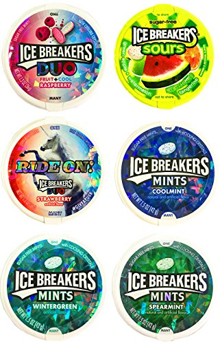 Ice Breakers Sugar Free Mints Variety Pack Featuring Duos Mints and Sours (6 Pack)
