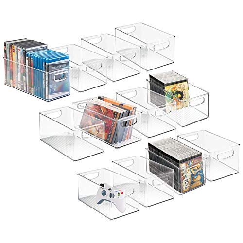 mDesign Plastic Stackable Household Storage Organizer Container Bin with Handles - for Media Consoles, Closets, Cabinets - Holds DVDs, Video Games, Gaming Accessories - BPA Free - 12 Pack, Clear