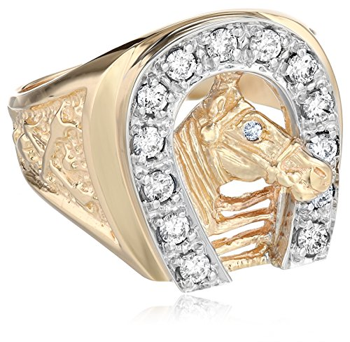 Men's 10k Two-Tone Gold Diamond Horseshoe Ring (0.50 cttw, H-I Color, I1-I2 Clarity), Size (Mens Diamond Horseshoe Ring)