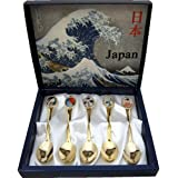 日本のアートスプーン 浮世絵版画 5本セット 縁起の良い贈り物(招福開運)