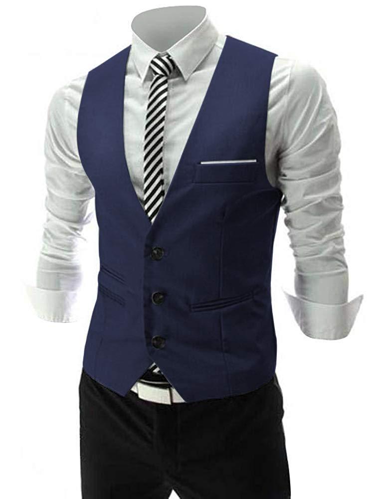 Zicac Men's Top Designed Casual Slim Fit Skinny Dress Vest Waistcoat (L, Dark Navy Blue) by Zicac