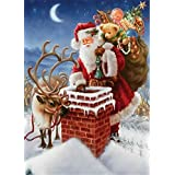 YEESAM ART New 5D Diamond Painting Kit - Santa Claus and elk climb chimneys Send gifts - DIY Crystals Diamond Rhinestone Painting Pasted Paint by Num
