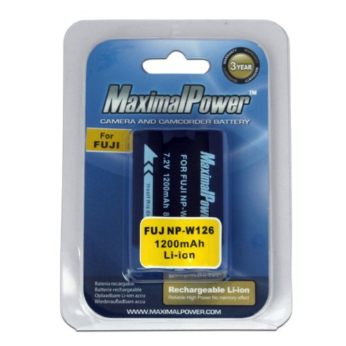 Maximal Power DB FUJ NP-W126  Replacement Li-ion Battery for Fuji NP-W126/NPW126 and Fuji Fujifilm XE-1/X-E1, FinePix HS30EXR,HS33EXR,X-Pro1 (Black)