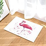 GoHeBe Bath Rugs Hand Drawn Flamingo Pink Tropical Wildlife Artwork Printing Non-Slip Doormat Floor Entryways Indoor Front Door Mat Kids Bath Mat 15.7x23.6in Bathroom Accessories