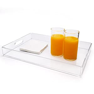 Large Rectangular Serving Tray,Commercial Food Tray for Breakfast, Tea, Butler with Handle,Clear