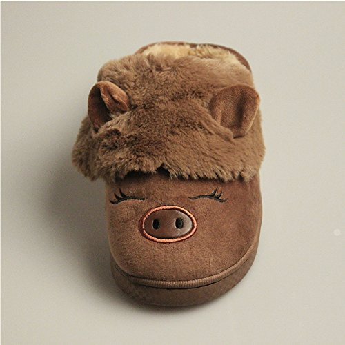 WYSBAOSHU Winter Warm Men Women Indoor Shoe Couples House Slipper Brown Pig-pattern 2 Sfu1Mt9wJ