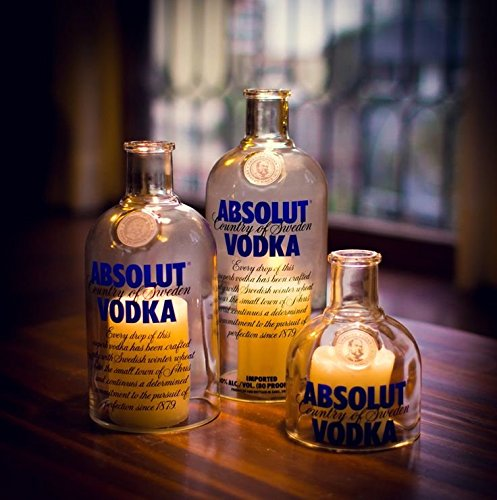(ABSOLUT VODKA bottle Tea Light Hurricane candle cover Trio set)