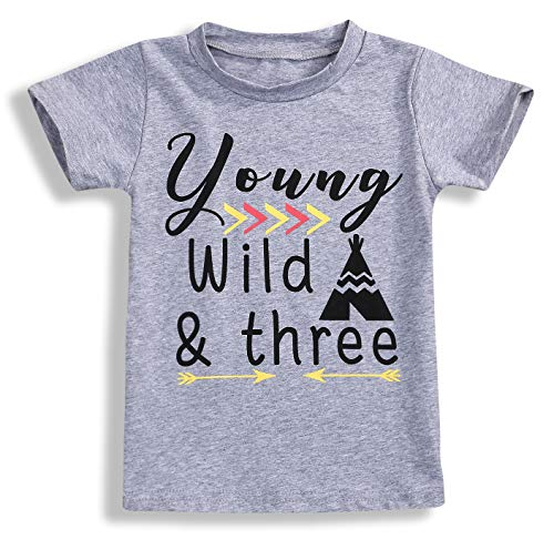 YOUNGER STAR 1PC Children Baby Boy Gray Letter Print Short Sleeve T-Shirt Clothes Outfit (3 T, Gray C)