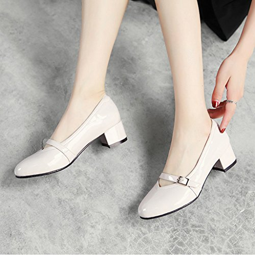 HWF Chaussures femme Printemps Shallow Mouth Single Chaussures à talons hauts A Pedal Casual Chaussures pour femmes ( Couleur : Vin rouge , taille : 36 ) Beige