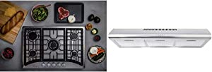 "Empava 30"" Gas Stove Cooktop with 5 Italy Sabaf Sealed Burners Convertible in Stainless Steel, 30 Inch & Cosmo COS-5MU36 36 in. Under Cabinet Range Hood Ductless Convertible Duct, 36 inch"