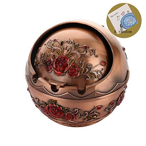 SRK VintageWindproofzincAlloySmokingAshtraywithLidforOutdoorandIndoorUse,MetalPortableBallCigaretteAshtray,DesktopSmokingAshTrayforHomeOfficeDecoration (Bronze)